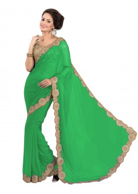 Party Wear Georgette Green Saree - EBSFS16570