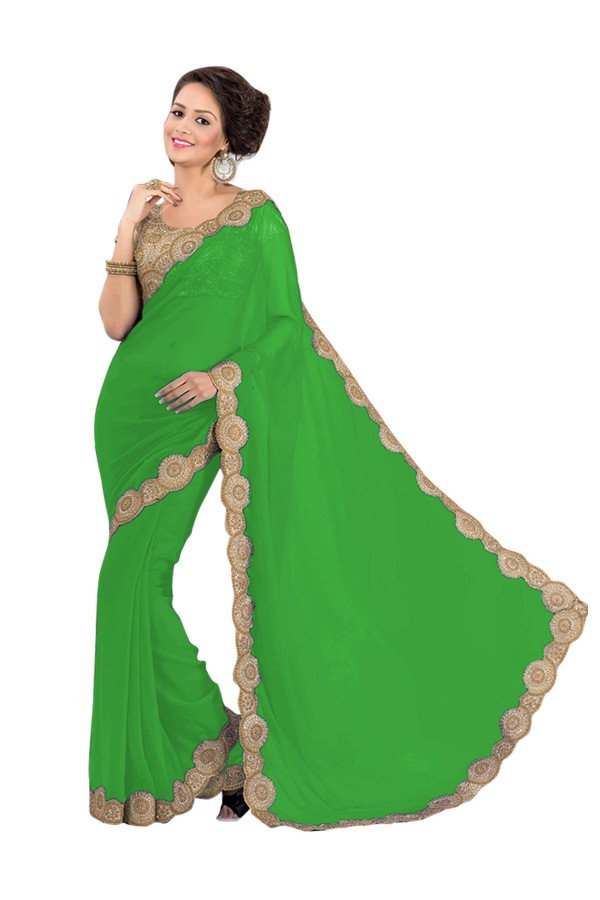 Party Wear Georgette Green Saree - EBSFS16578