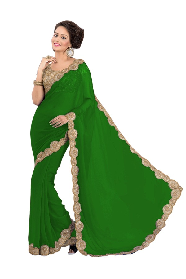 Party Wear Georgette Green Saree - EBSFS16582