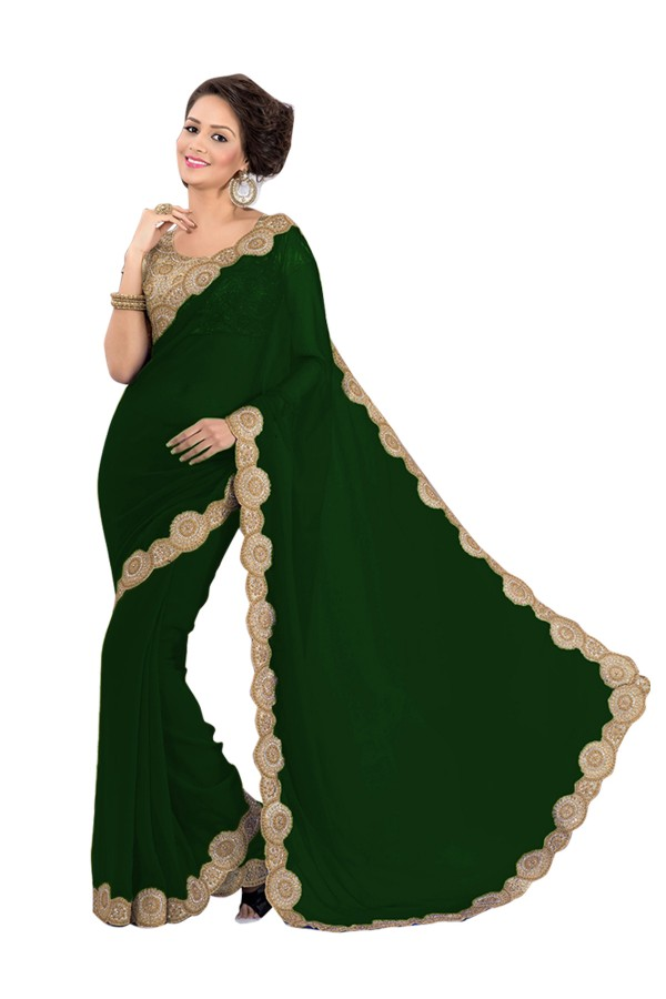 Party Wear Georgette Green Saree - EBSFS16590