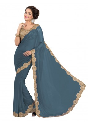 Party Wear Georgette Grey Saree - EBSFS16599