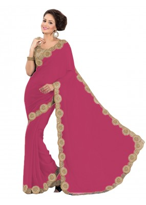 Party Wear Georgette Pink Saree - EBSFS16517