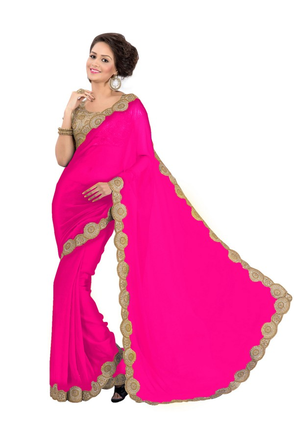 Party Wear Georgette Pink Saree - EBSFS16525