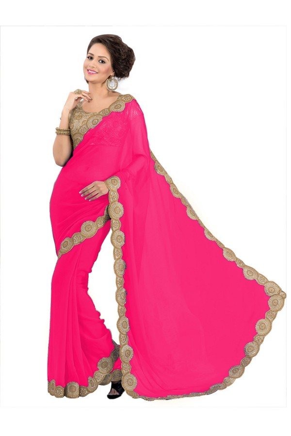 Party Wear Georgette Pink Saree - EBSFS16537