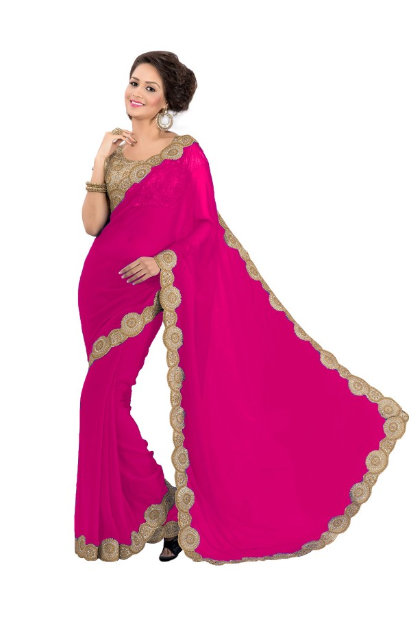 Party Wear Georgette Pink Saree - EBSFS16545