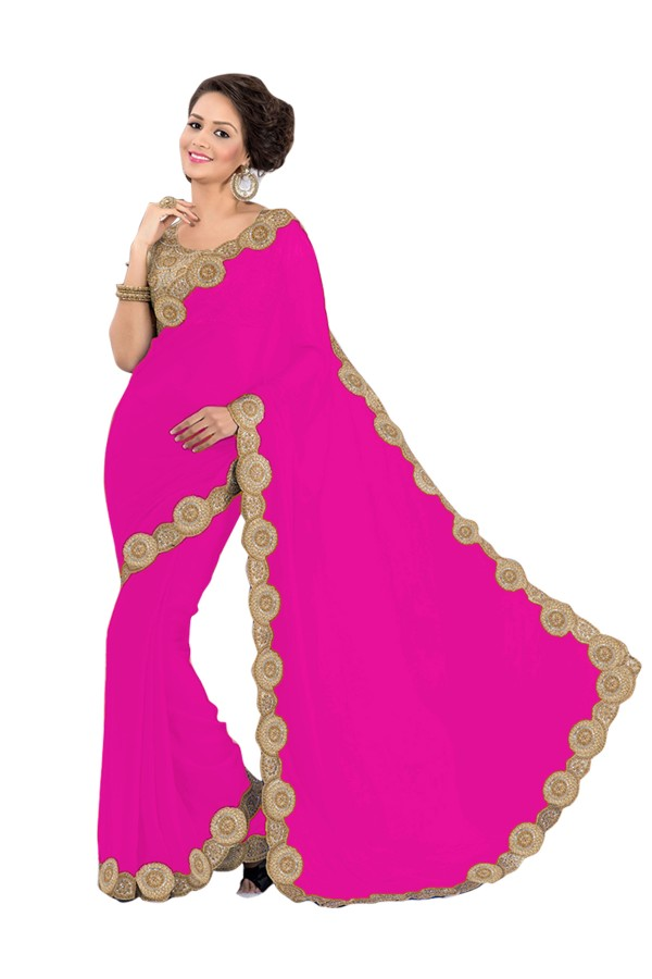 Party Wear Georgette Pink Saree - EBSFS16561