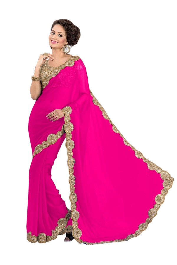 Party Wear Georgette Pink Saree - EBSFS16566