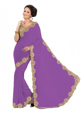 Party Wear Georgette Purple Saree - EBSFS16515