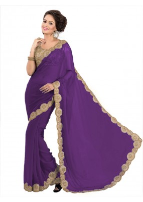 Party Wear Georgette Purple Saree - EBSFS16543