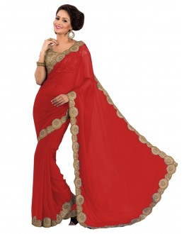 Party Wear Georgette Red Saree - EBSFS16519