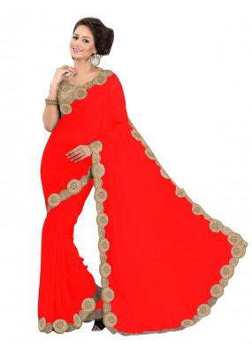 Party Wear Georgette Red Saree - EBSFS16557