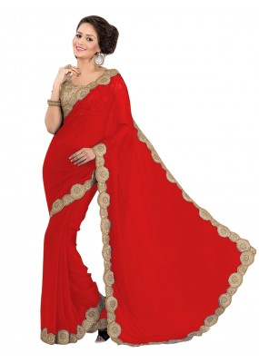 Party Wear Georgette Red Saree - EBSFS16579