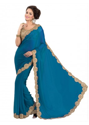 Party Wear Georgette Royal Blue Saree - EBSFS16548