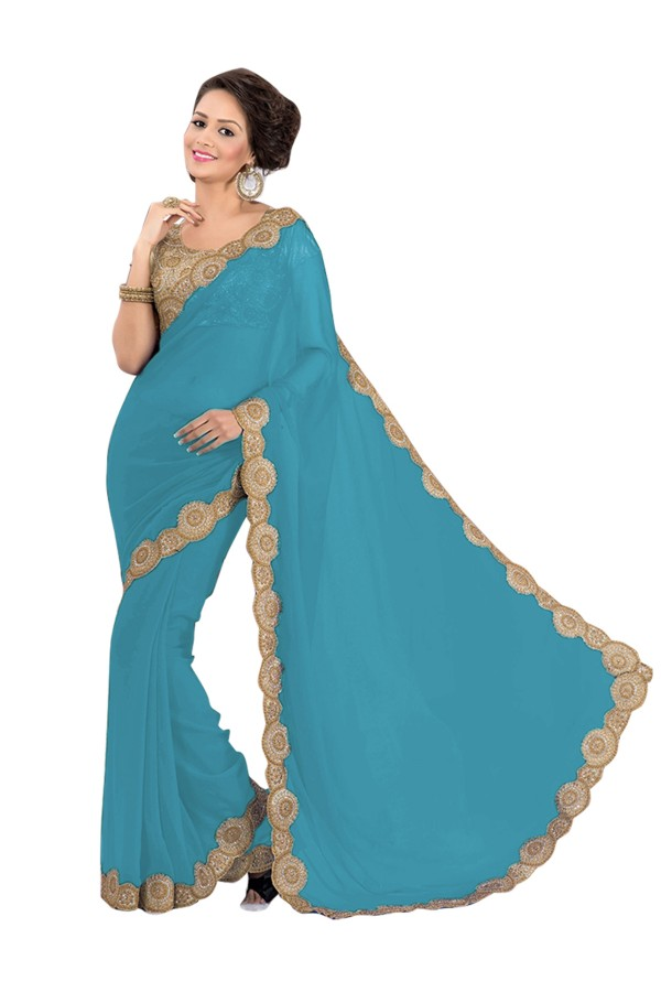 Party Wear Georgette Royal Blue Saree - EBSFS16580