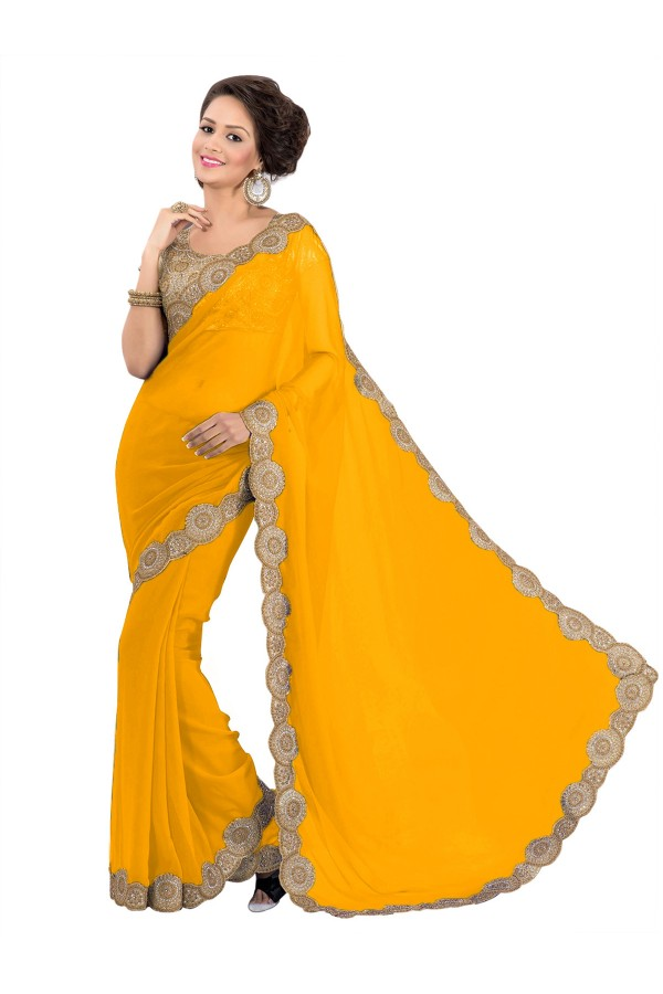Party Wear Georgette Yellow Saree - EBSFS16550