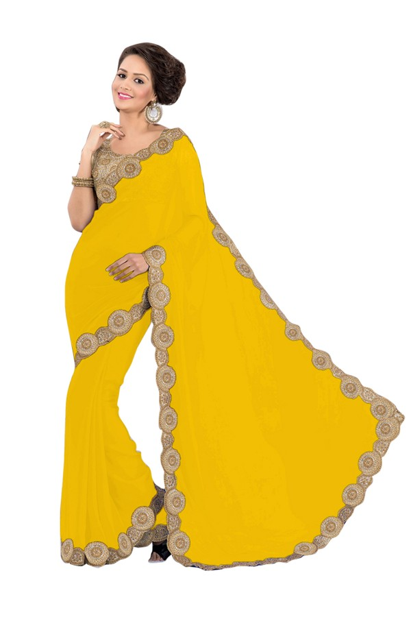 Party Wear Georgette Yellow Saree - EBSFS16560