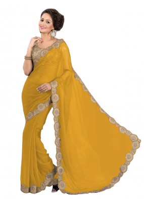 Party Wear Georgette Yellow Saree - EBSFS16572