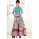 Ethnic Wear Georgette Blue Anarkali Suit - EBSFSK09109E