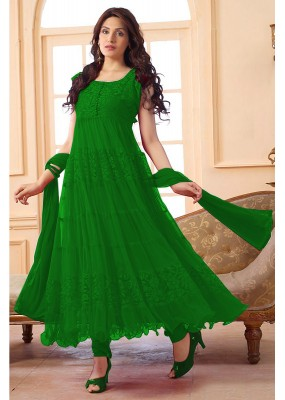Ethnic Wear Net Green Anarkali Suit - EBSFSK09101K
