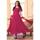 Ethnic Wear Net Magenta Anarkali Suit - EBSFSK09101N