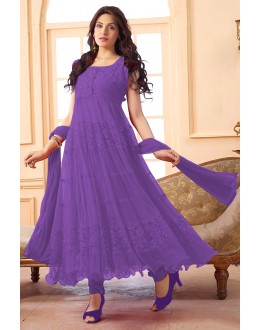 Ethnic Wear Net Purple Anarkali Suit - EBSFSK09101L