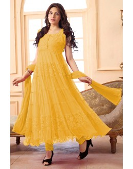 Ethnic Wear Net Yellow Anarkali Suit - EBSFSK09101Y