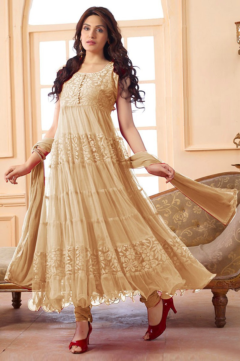 Festival Wear Net Cream Anarkali Suit - EBSFSK09101C