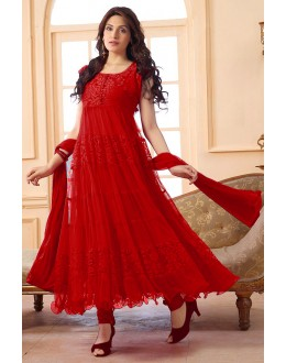 Festival Wear Net Red Anarkali Suit - EBSFSK09101D