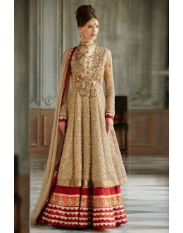 Party Wear Georgette Beige Anarkali Suit - EBSFSK09109