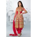 Party Wear Georgette Red Patiala Suit - EBSFSK09107D