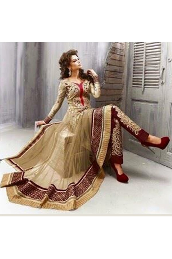 Party Wear Net Beige Anarkali Suit - EBSFSK09102B