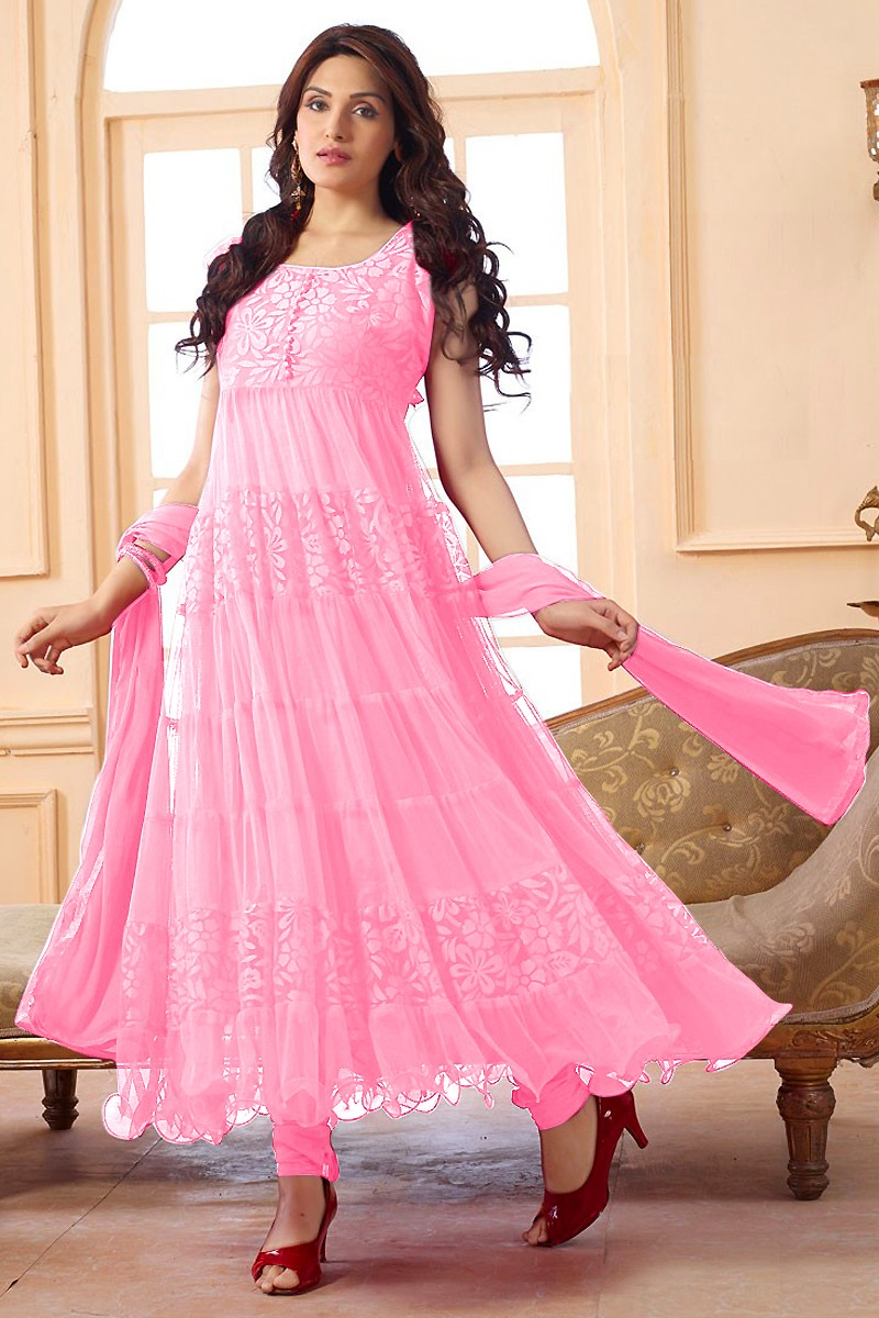 Party Wear Net Pink Anarkali Suit - EBSFSK09101I