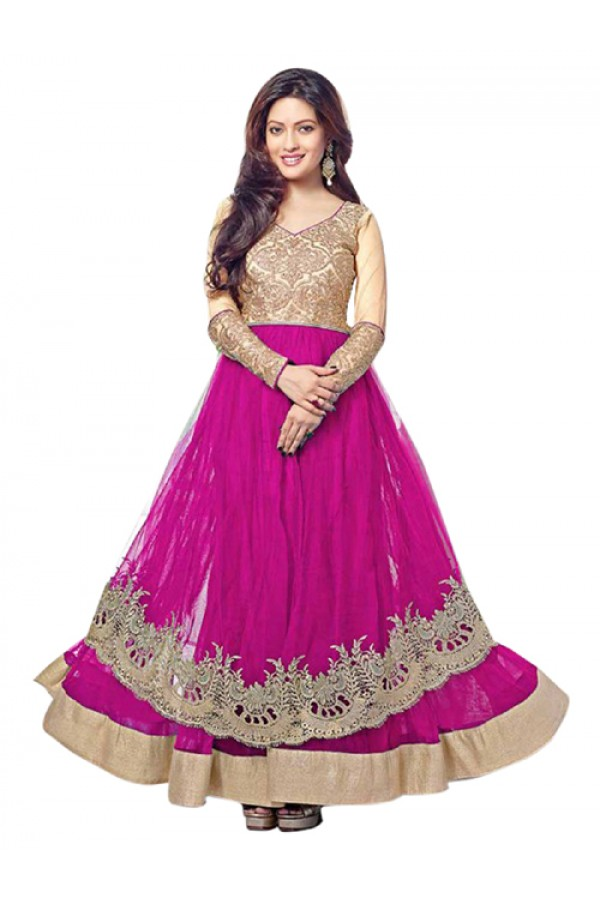 Wedding Wear Pink Net Anarkali Suit  - EBSFSK14217B ( EBSFSK14 )