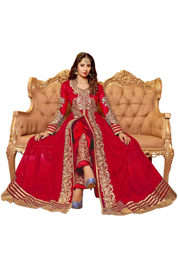 Wedding Wear Red Net Anarkali Suit  - EBSFSK14201B ( EBSFSK14 )
