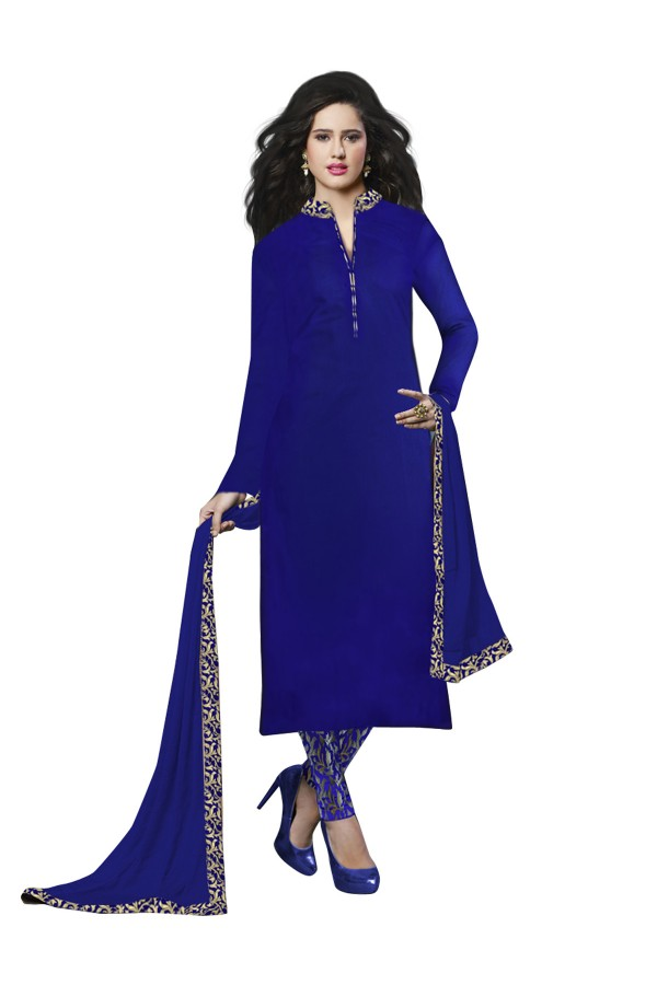 Party Wear Banglori Silk Blue Salwar Kameez - EBSFSK202027