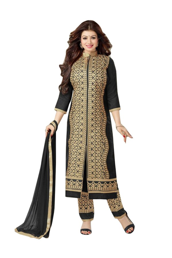 Party Wear Chanderi Cotton Black Salwar Kameez - EBSFSK202019