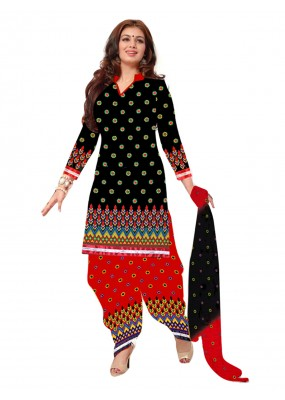 Party Wear Cotton Black Patiala Suit - EBSFSK202024