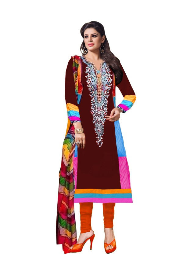 Party Wear Cotton Brown Salwar Kameez - EBSFSK202004B