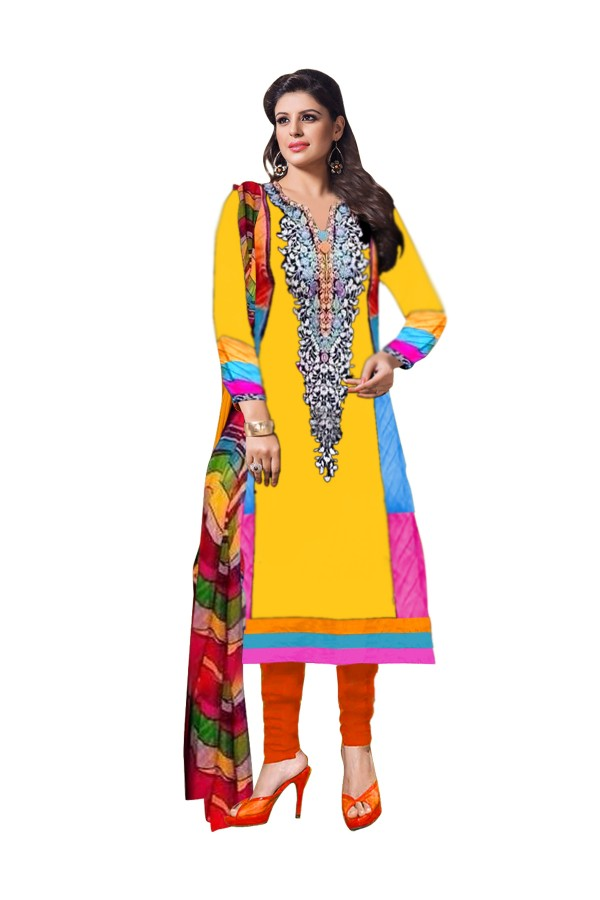 Party Wear Cotton Yellow Salwar Kameez - EBSFSK202004C