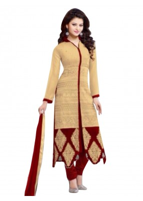 Party Wear Georgette Cream Salwar Kameez - EBSFSK202003B