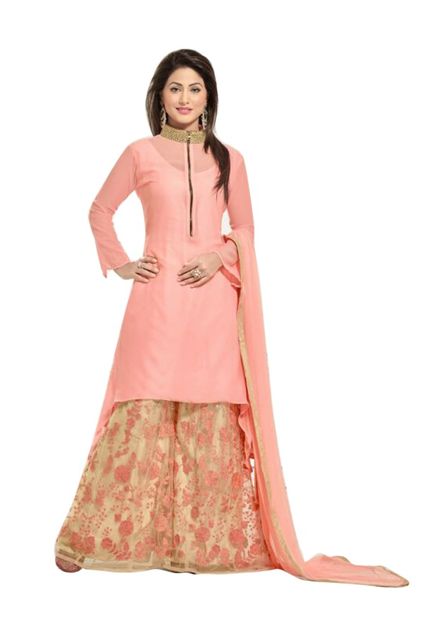 Party Wear Georgette Peach Patiala Suit - EBSFSK202017