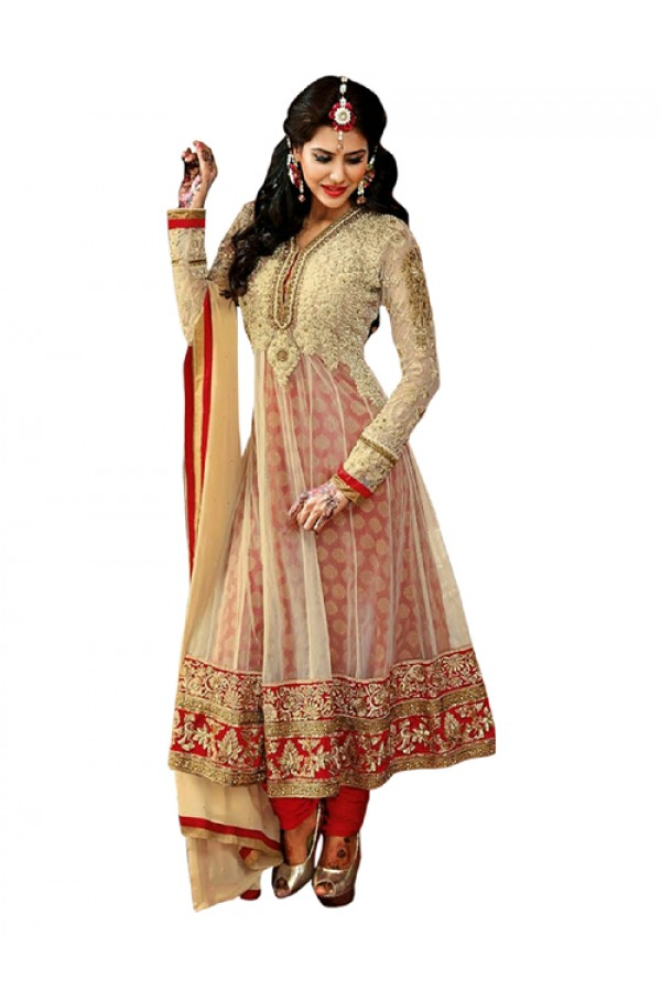 Wedding Wear Cream & Red Anarkali Suit  - EBSFSK245003 ( EBSFSK24 )