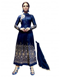 Banglori Silk Embroidered Blue Anarkali Salwar Kameez ( EBSFSK25 )