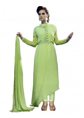 Faux Georgette Embroidered Green Anarkali Salwar Kameez ( EBSFSK25 )