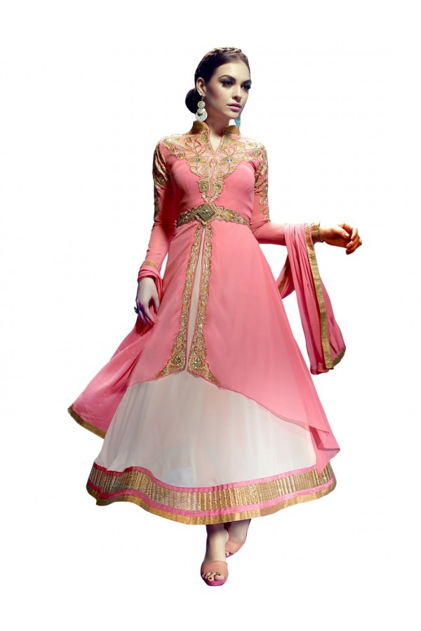 Faux Georgette Embroidered Pink Anarkali Salwar Kameez ( EBSFSK25 )