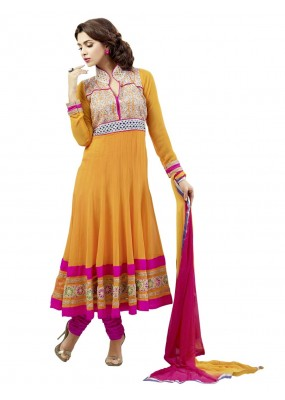 Faux Georgette Embroidered Yellow Anarkali Salwar Kameez ( EBSFSK25 )