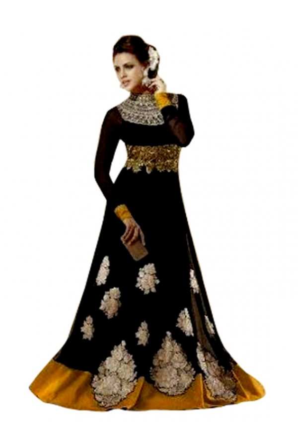Georgette Embroidered Black Anarkali Salwar Kameez ( EBSFSK25 )