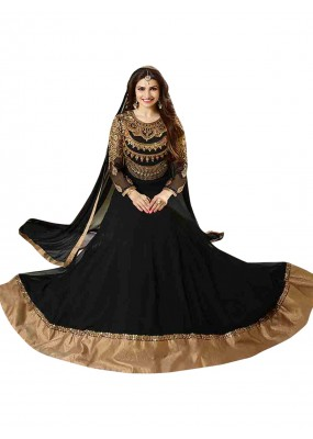Georgette Embroidered Black Anarkali Salwar Kameez  - EBSFSK256003 ( EBSFSK25 )
