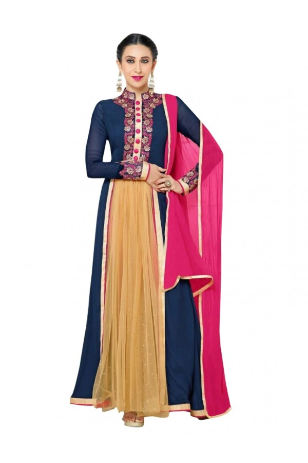 Georgette Embroidered Blue Anarkali Salwar Kameez ( EBSFSK25 )