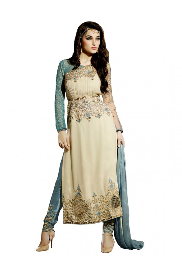 Georgette Embroidered Cream Salwar Kameez - ( EBSFSK25 )